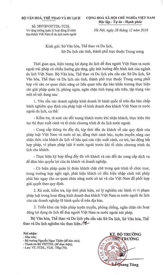 Tuyên truyền, phòng chống, ngăn chặn các hoạt động lợi dụ du lịch để đưa người Việt Nam ra nước ngoài trái phép - Ảnh 1.