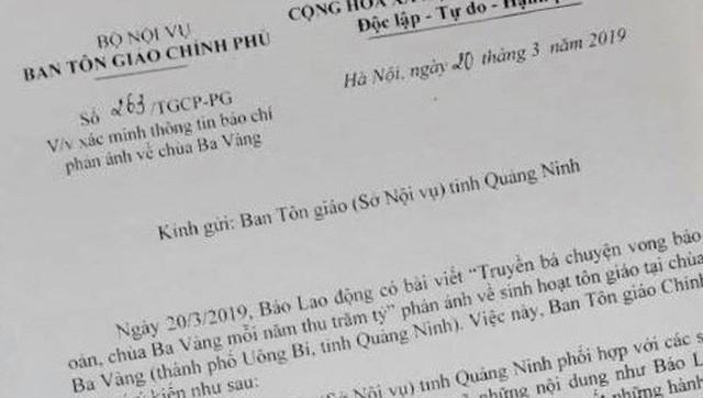 Ban Tôn giáo Chính phủ yêu cầu xác minh thông tin chùa Ba Vàng truyền bá vong báo oán - Ảnh 1.
