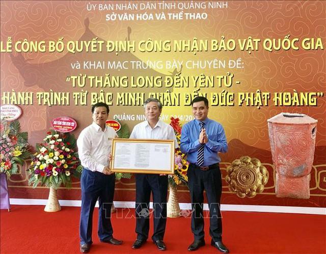 Công nhận Bảo vật quốc gia Bình gốm Đầu Rằm và Hộp vàng Ngọa Vân - Yên Tử  - Ảnh 1.