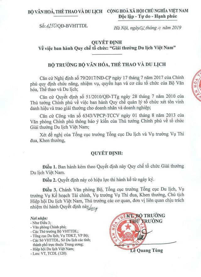 """Nguyên tắc xét tặng """"Giải thưởng Du lịch Việt Nam"""" đảm bảo khách quan, chính xác, công bằng và công khai - Ảnh 1."""