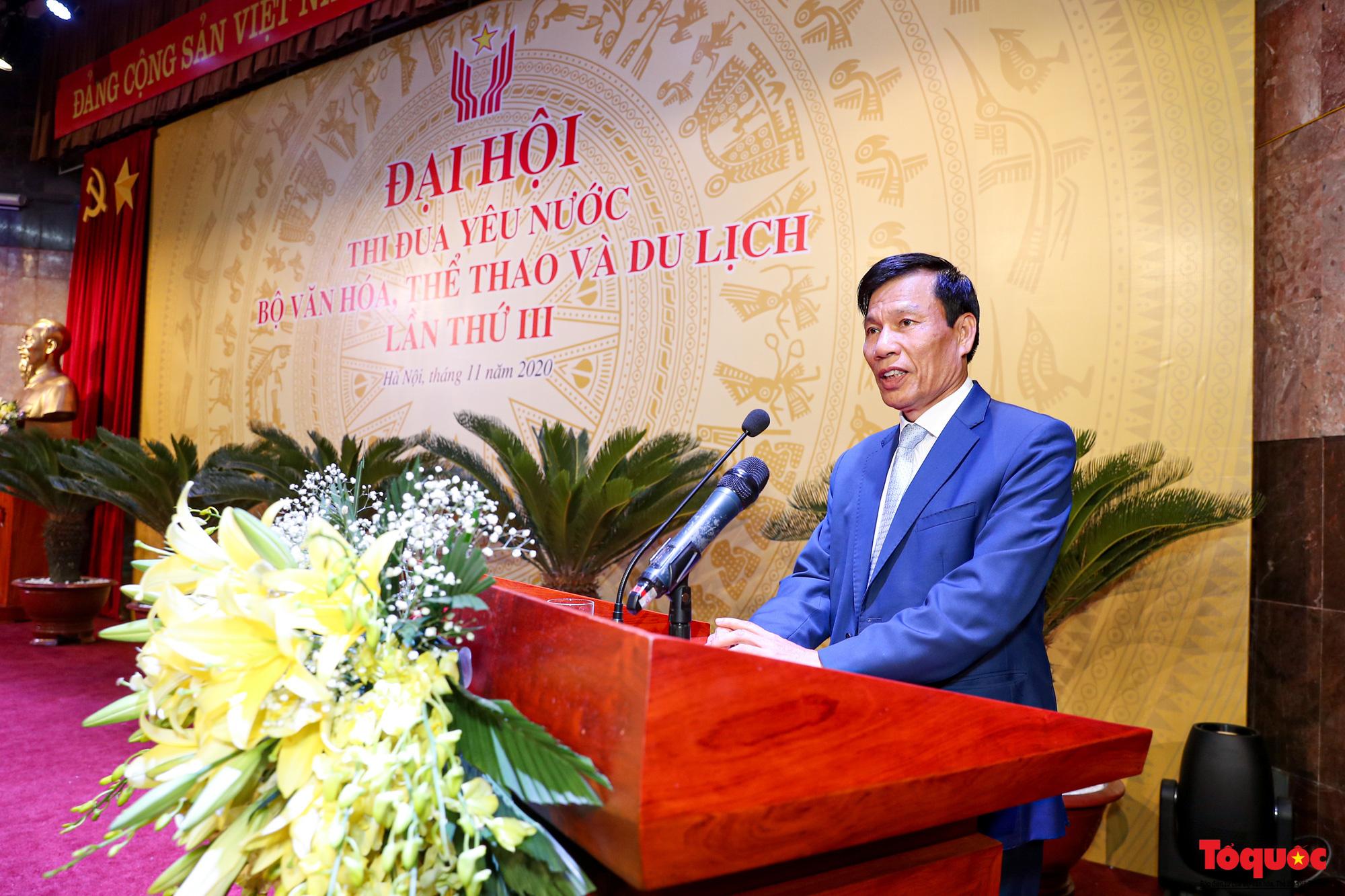 Phát biểu khai mạc, Bộ trưởng Bộ VHTTDL Nguyễn Ngọc Thiện cho biết, Đại hội thi đua yêu nước của Bộ VHTTDL lần thứ III là một dấu mốc quan trọng, tạo bước phát triển mới trên cơ sở tiếp nối, phát huy