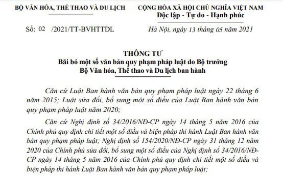 Bộ VHTTDL bãi bỏ một số văn bản quy phạm pháp luật từ ngày 01/7/2021