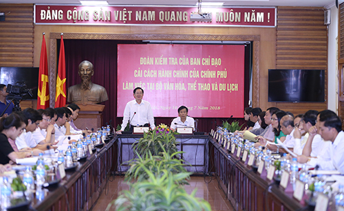 Hình ảnh: Đoàn kiểm tra của Ban Chỉ đạo Cải cách hành chính của Chính phủ làm việc với Bộ VHTTDL số 1