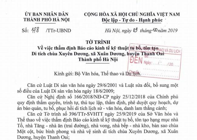 Trình Bộ VHTTDL thẩm định Báo cáo KTKT tu bổ, tôn tạo di tích chùa Xuyên Dương - Ảnh 1.