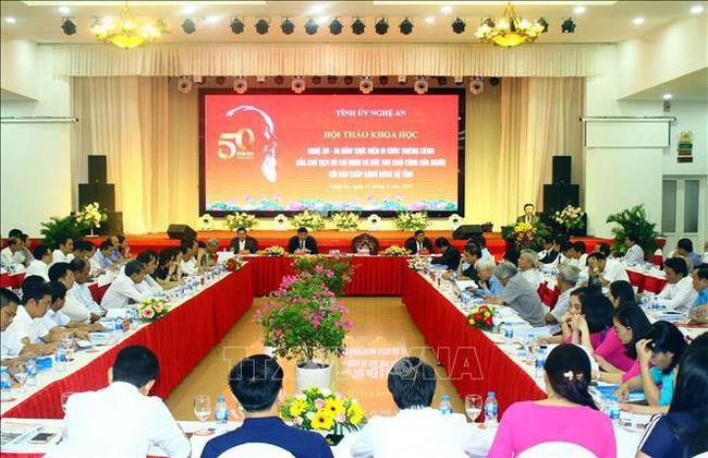 Hội thảo 50 năm thực hiện Di chúc thiêng liêng của Chủ tịch Hồ Chí Minh tại Nghệ An - Ảnh 1.