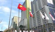 Hình ảnh Quốc kỳ Việt Nam tung bay tại ASIAD 2018